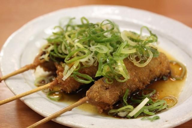 ネギとポン酢で串カツ